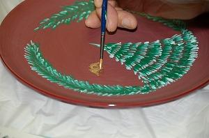 実践、漆器でトールペイント01