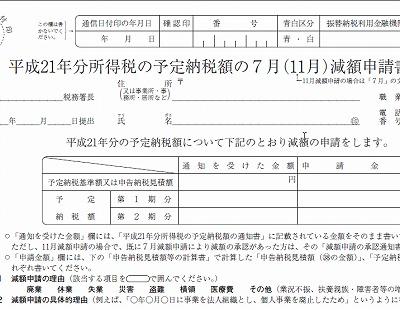予定納税の減額申請は7月15日まで