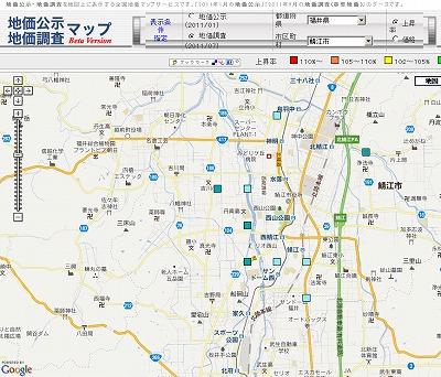 基準地価、福井県は下げ幅縮小も(2011)