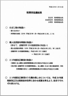 相続税などの改正は来年送りとなった平成23年度税制改正01