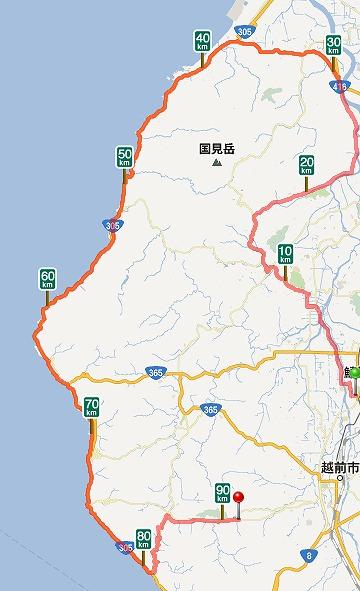 センチュリーラン福井の試走距離を107.72kmと計算。01