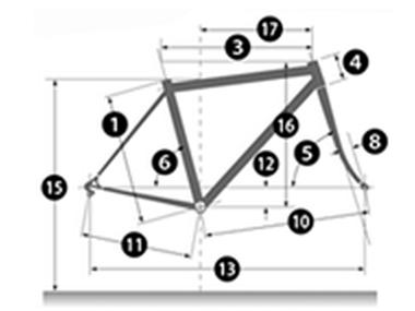ロードバイクはフレーム各所のサイズが細かく公開されている